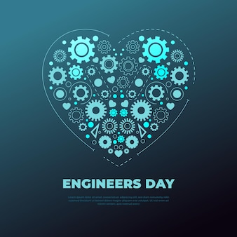 Engineers day with heart and gears