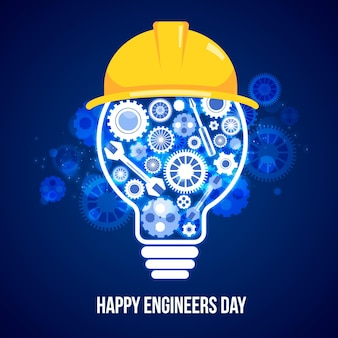 Engineers day with tools and light bulb