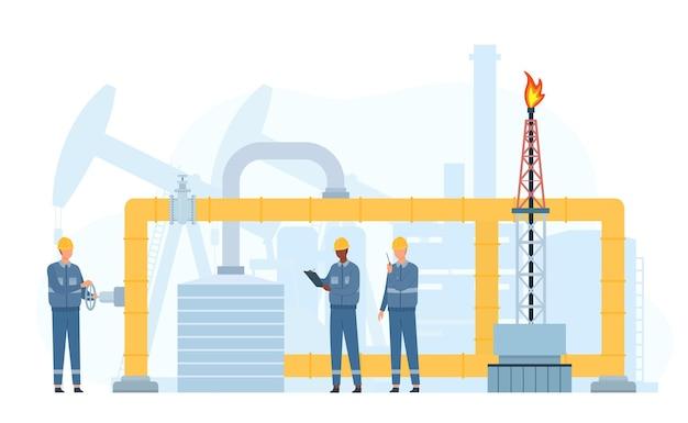 エンジニアは、石油またはガス輸送パイプラインの修理とサービスを行います。ガソリン業界の労働者はバルブをチェックします。金属パイプのメンテナンスベクトルの概念。建設圧力を検査する人々の石油会社