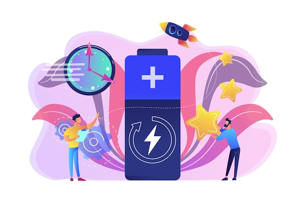 Engineers with battery charging, clock and stars with rocket. fast charging technology, fast-charge batteries, new battery engineering concept. bright vibrant violet  isolated illustration