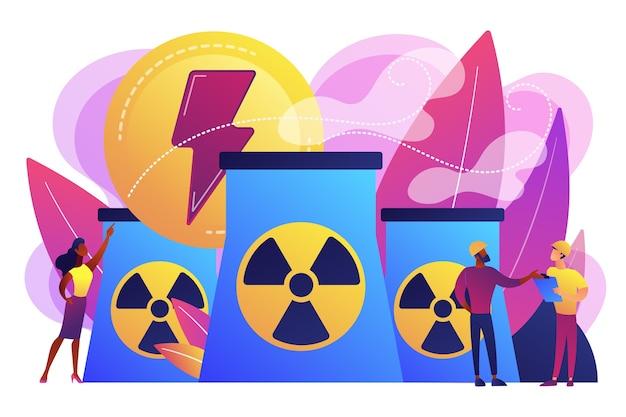 エネルギーを放出する原子力発電所の原子炉で働くエンジニア。原子力、原子力発電所、持続可能なエネルギー源の概念。