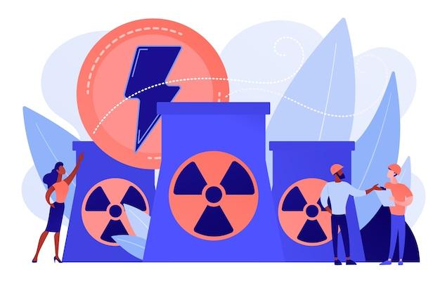 에너지를 방출하는 원자력 발전소 원자로에서 일하는 엔지니어