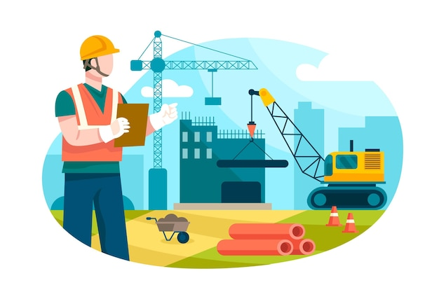 Engineers working on construction flat design