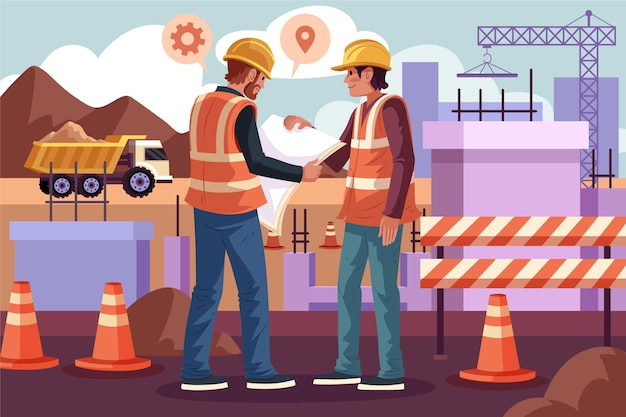 Engineers working on construction illustrated