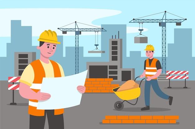 Engineers working on construction illustration
