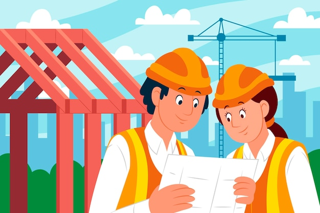 Engineers working on construction