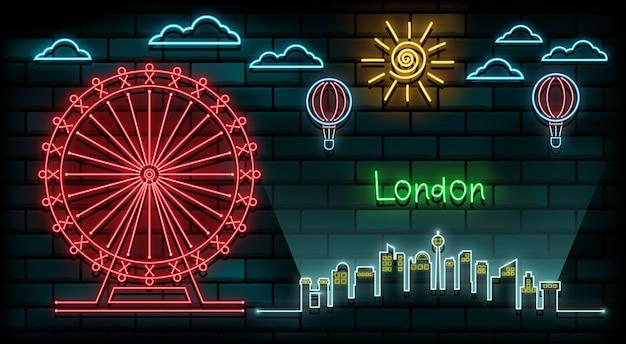 영국과 런던 여행 및 여행 네온 빛 배경.