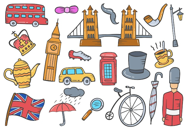 England or british country or nation doodle hand drawn set collections with flat outline style vector illustration