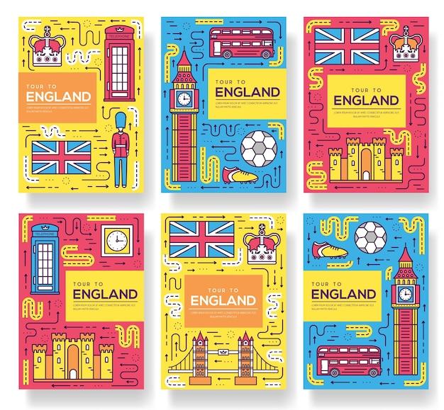 Набор тонких линий брошюры англии. шаблон путешествия страны flyear, обложка книги, баннеры.