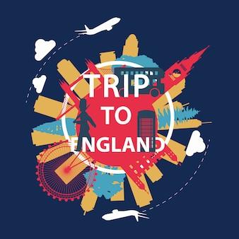 England famous landmark silhouette overlay style