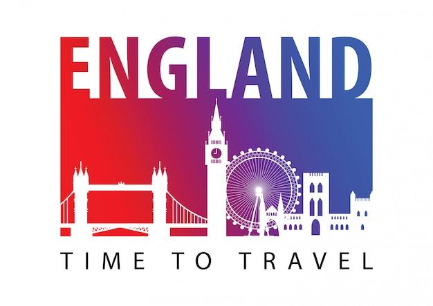 England famous landmark silhouette style