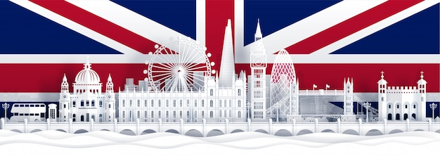 Флаг англии и знаменитые достопримечательности в вырезке из бумаги