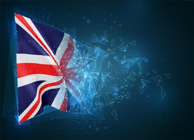 영국, 깃발, 파란색 배경에 삼각형 폴리곤에서 가상 추상 3d 개체
