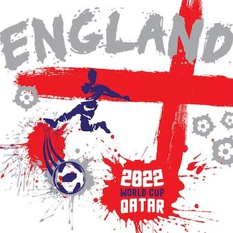 2022年ワールドカップカタールデザインのイングランドサッカーサッカーポスターイラスト