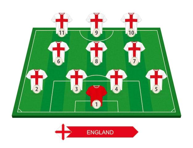 유럽 축구 대회 축구장에 잉글랜드 축구 팀 라인업