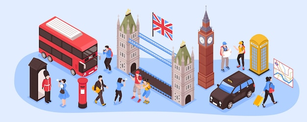 England isometric narrow illustration with capital city landmarks retro transport and national country symbols