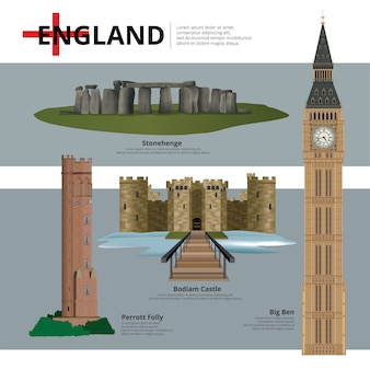 England landmark and travel attractions vector illustration
