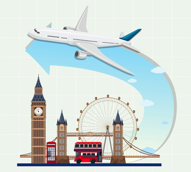 England landmarks with airplane
