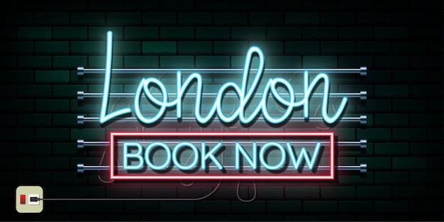England and london travel and journey neon light background.