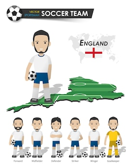 England national soccer cup team  football player with sports jersey stand on perspective field country map and world map  set of footballer positions  cartoon character flat design  vector