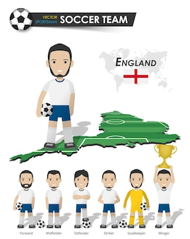 England national soccer cup team . football player with sports jersey stand on perspective field country map and world map . set of footballer positions . cartoon character flat design . vector .
