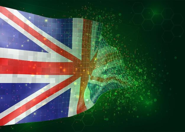 다각형 및 데이터 번호와 녹색 배경에 벡터 3d 플래그에 영국