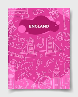 배너, 전단지, 책, 잡지 표지 벡터 삽화의 템플릿을 위한 낙서 스타일의 영국 또는 영국 국가