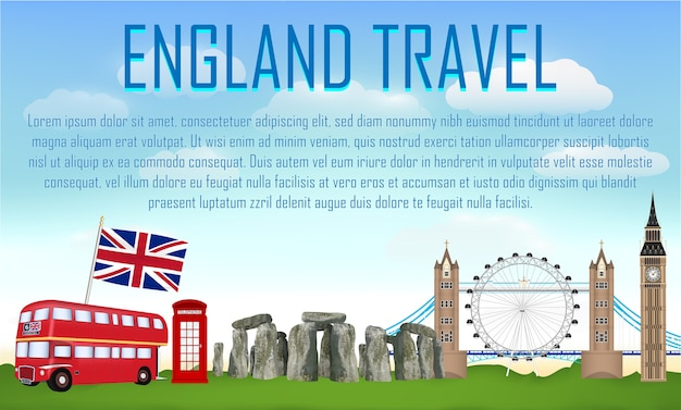 England travel with landmark and icon of england