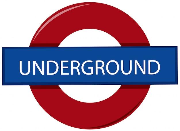 Англия подземный знак на белом фоне