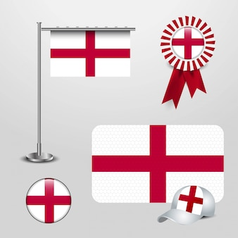 England united kingdom country flag haning on pole, ribbon badge banner, sports hat and round button