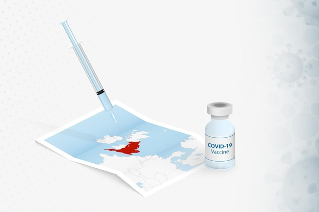 England vaccination, injection with covid-19 vaccine in map of england.