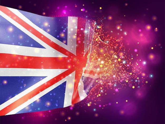 영국, 조명 및 플레어가 있는 분홍색 보라색 배경의 벡터 3d 플래그