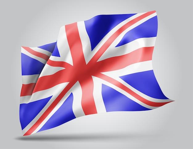 영국, 파도가 있는 벡터 깃발과 흰색 배경에 바람에 물결치는 굽힘.