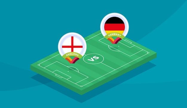 England vs germany round of 16 match, european football championship 2020 vector illustration. football 2020 championship match versus teams intro sport background