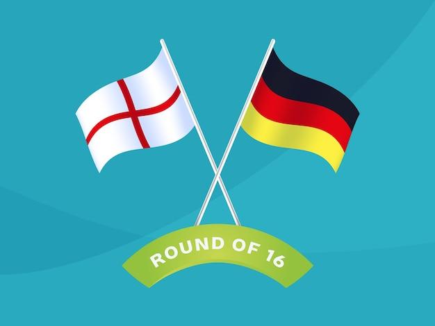 16試合のイングランド対ドイツラウンド、欧州サッカー選手権2020ベクトルイラスト。サッカー2020チャンピオンシップマッチ対チームイントロスポーツの背景