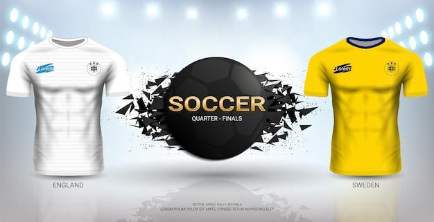 잉글랜드 vs 스웨덴 축구 저지 템플릿.