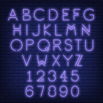 English alphabet and numbers. Neon sign with violet letters.