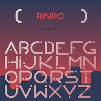 English alphabet digital letters flat set