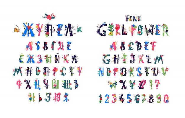 English alphabet in flowers and plants.