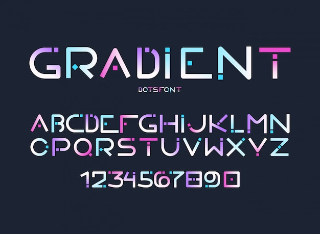 English alphabet gradient letters, digits vector