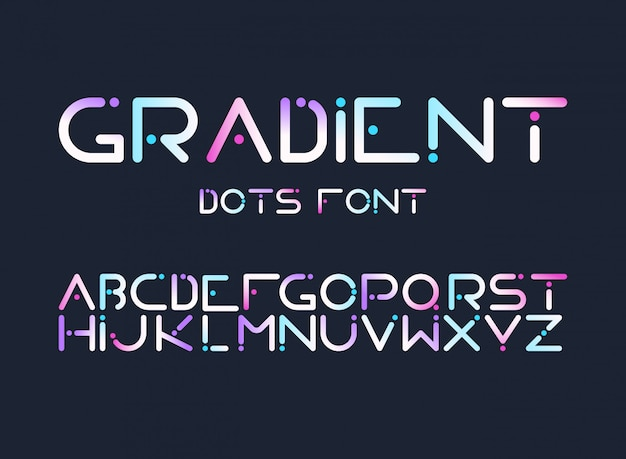 English alphabet gradient letters flat vector set