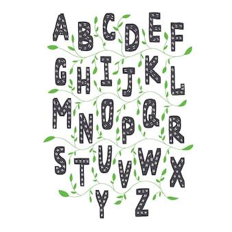 Английский алфавит в скандинавском стиле. векторные английские буквы для детей, обучающихся с элементами зеленых растений