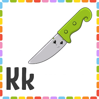 English alphabet. letter k - knife. abc square flash cards.
