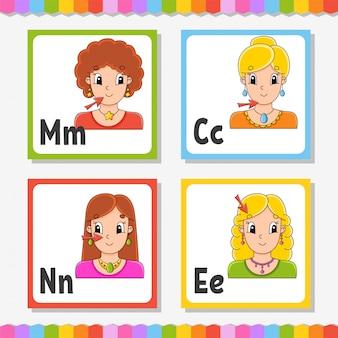 英語のアルファベット。文字m、c、n、e。abcスクエアフラッシュカード。