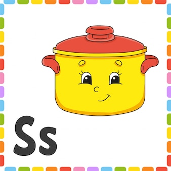 English alphabet. letter s - stewpan. abc square flash cards.