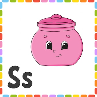English alphabet. letter s - sugar bowl. abc square flash cards.