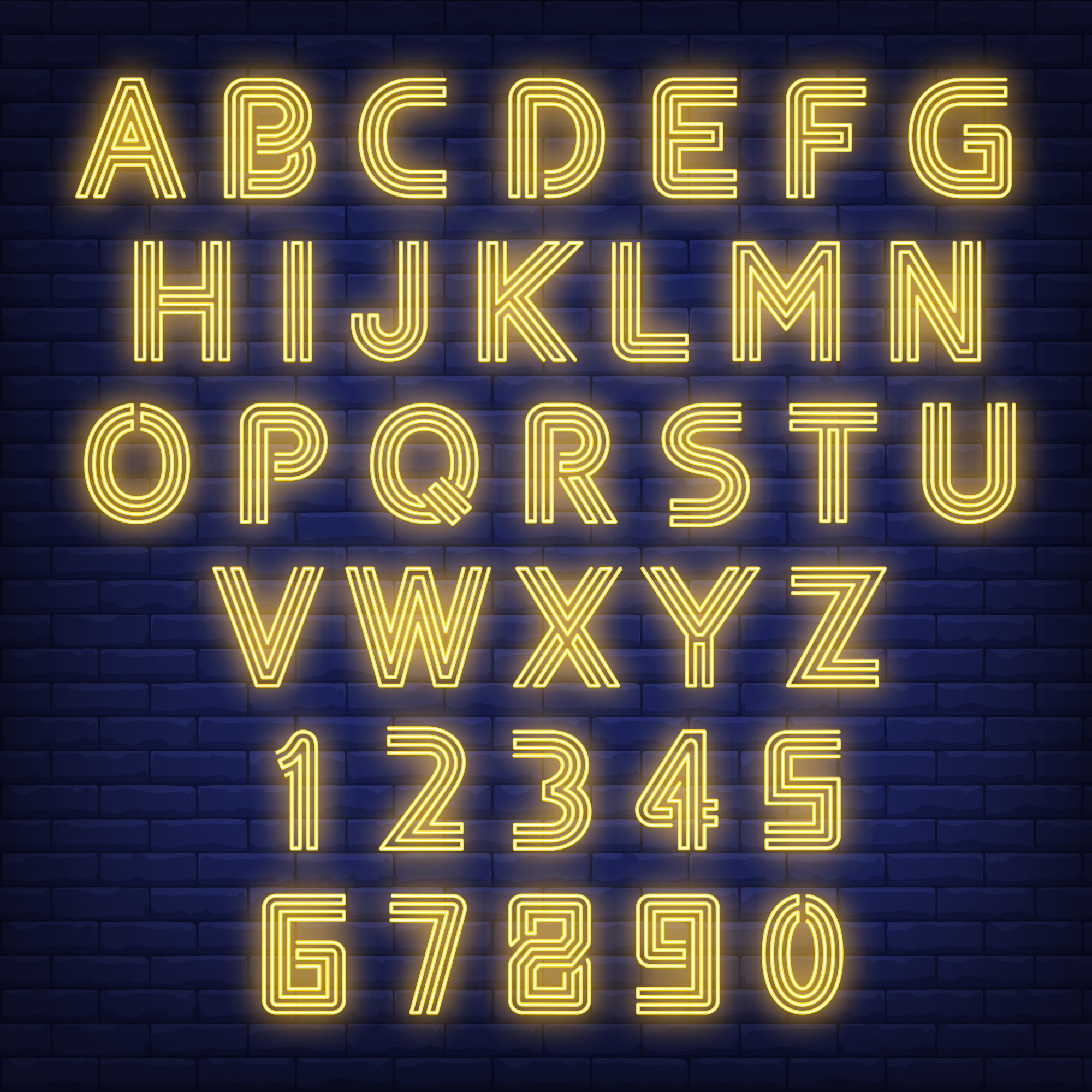 English alphabet neon sign. Glowing letters and figures on dark brick wall background.