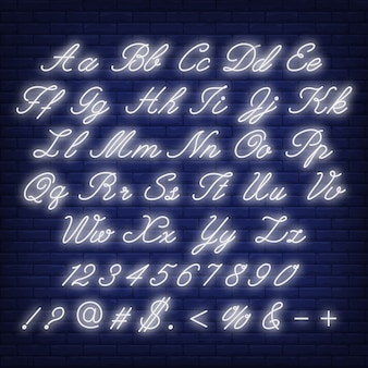 English alphabet neon sign