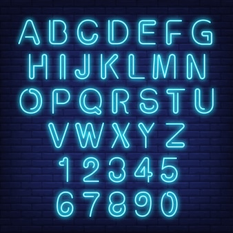 English alphabet and numbers. neon sign with blue letters.