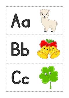 만화 캐릭터가 있는 영어 알파벳 플래시 카드